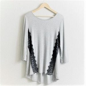 WHBW 3/4 Sleeve Black Lace Trim Hi Lo Top Gray M